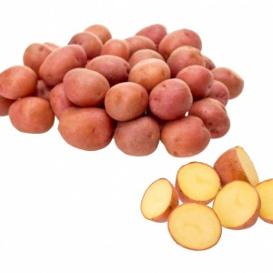Little red potatoes sliced on pure white background