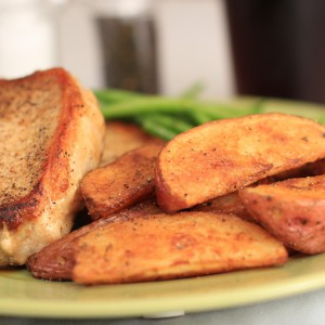 Red Wedge Cut Fried Potatoes Plated with Pork and Green Beans2
